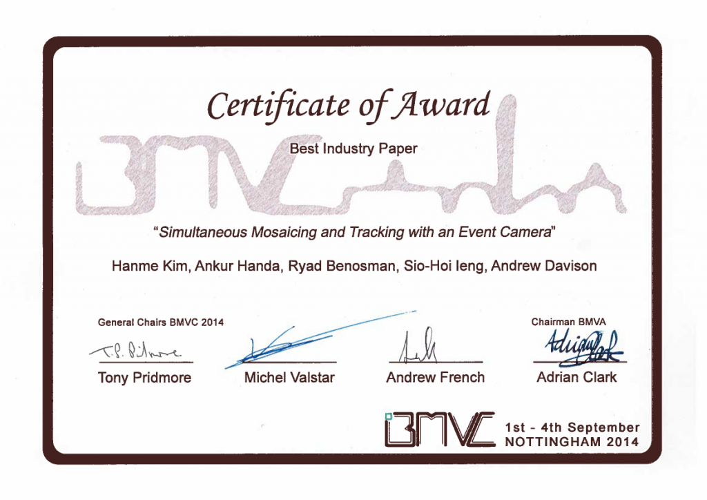 BMVC2014_BestIndustryPaper_Certificate