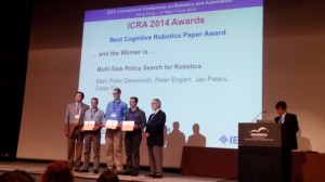 Best Paper Award (Cognitive Robotics) at ICRA, May 2014